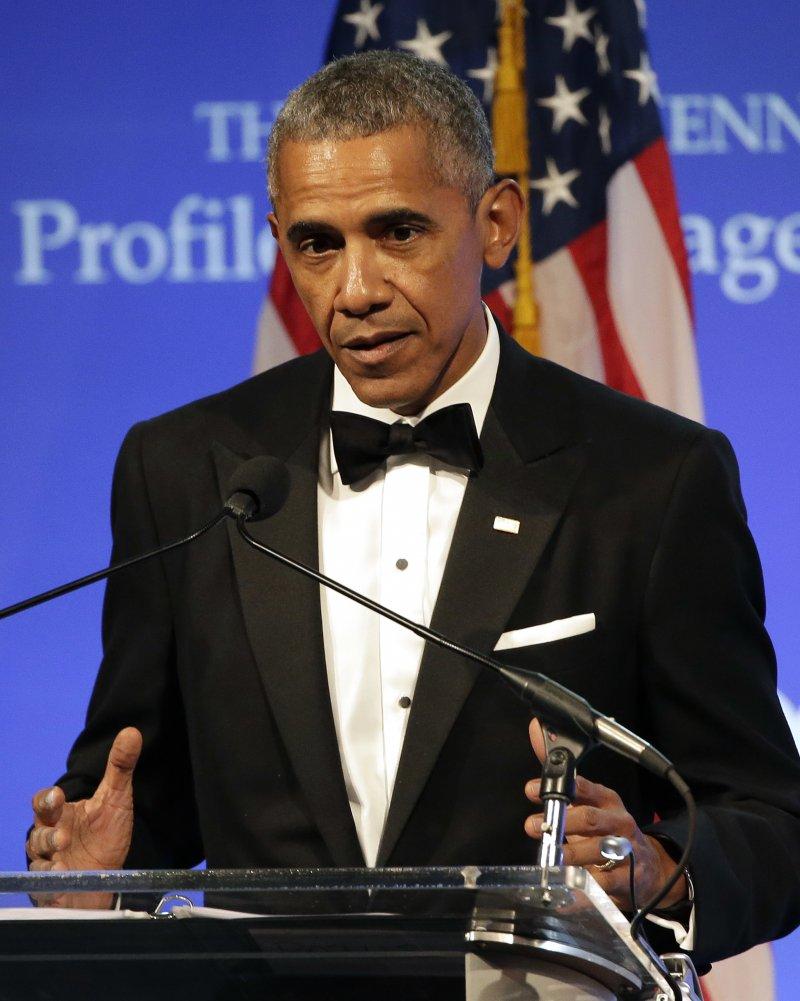 美國前總統歐巴馬接受約翰.甘迺迪基金會頒發的勇氣獎(AP)