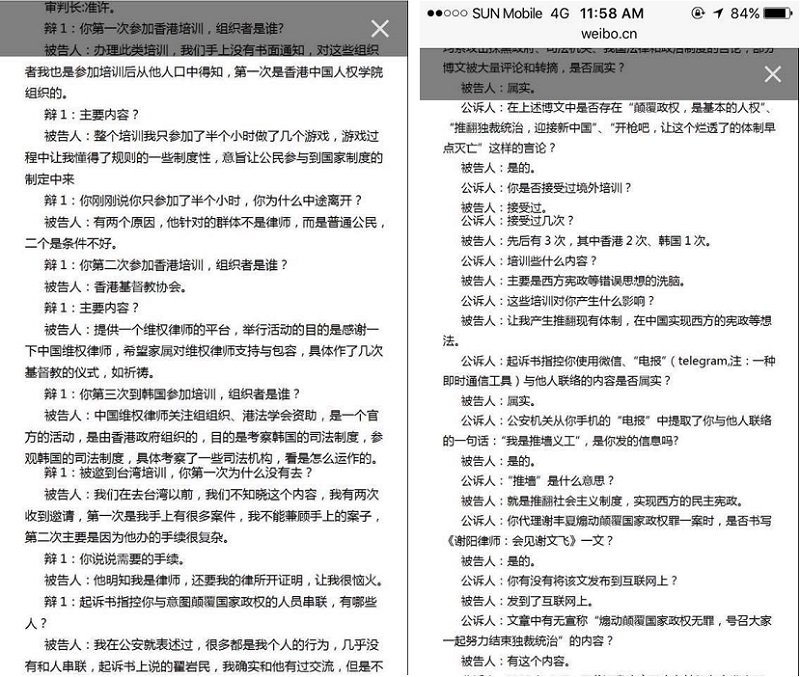 官方自己發佈的謝陽庭審紀錄,這些內容都是罪名,如此,人人都可入罪。(作者提供)