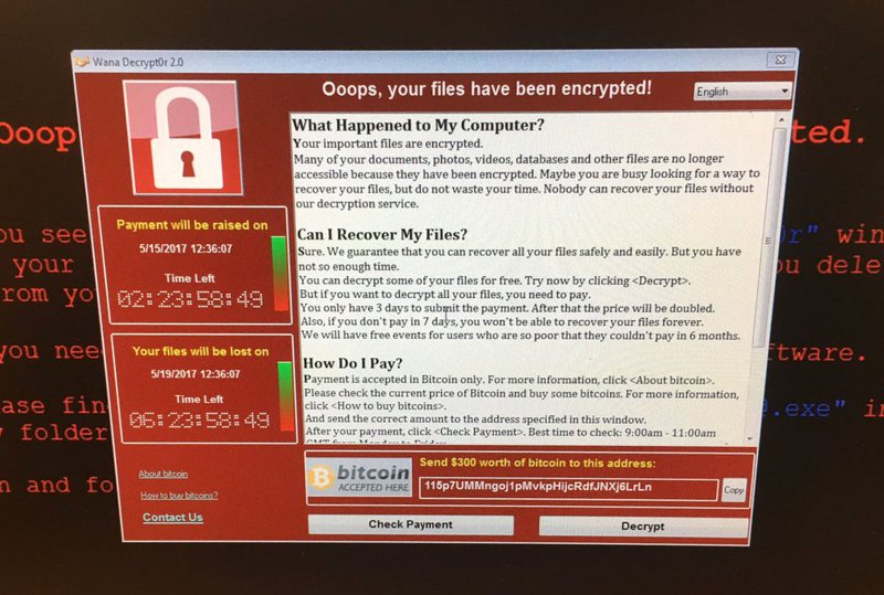 勒索病毒「哭哭」(WannaCry)要求贖金的畫面。(美聯社)