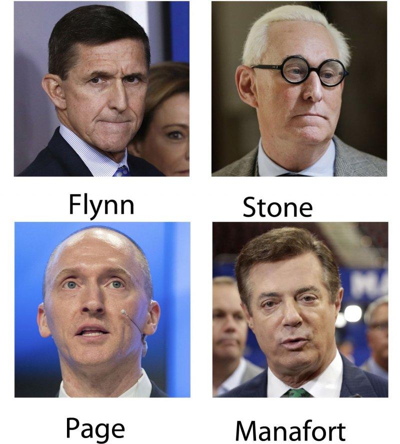 美國國會與聯邦調查局調查川普競選團隊是否勾結俄羅斯,鎖定4名川普親信,左上角順時針:佛林(Michael Flynn)、史東(Roger Stone)、曼納福特(Paul Manafort)、佩吉(Carter Page)(AP)