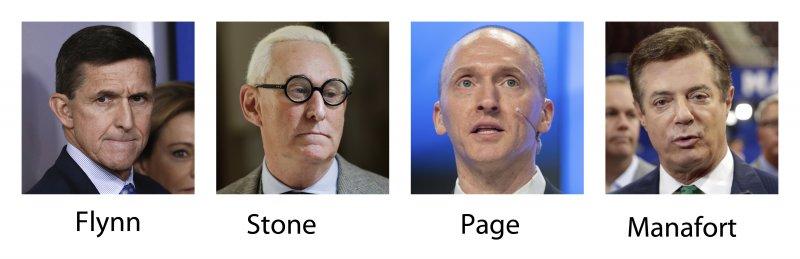 川普「俄羅斯門」。美國國會與聯邦調查局(FBI)調查川普競選團隊是否勾結俄羅斯,鎖定4人,左起:佛林(Michael Flynn)、史東(Roger Stone)、佩吉(Carter Page)、曼納福特(Paul Manafort)(AP)