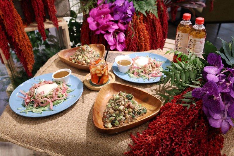 由信豐農場產品製作的紅藜低卡高纖美味料理,可以有效預防及舒緩失眠。(圖/信豐農場提供)