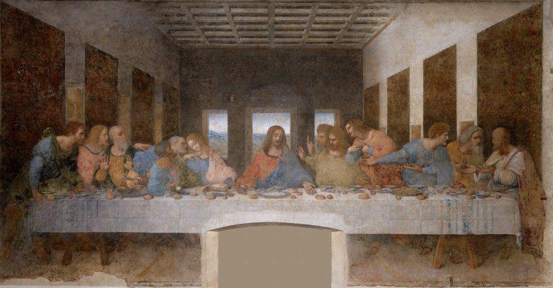 達文西最著名的畫像之一《最後的晚餐》。(維基百科公有領域)
