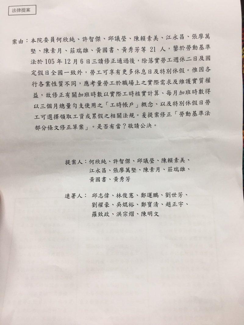 2017-05-22提案、連署勞基法修法立委名單-林瑋豐翻攝