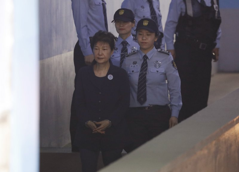 朴槿惠23日首次公開受審。(美聯社)