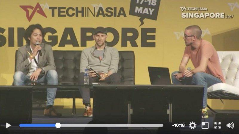 筆者在Tech In Asia Singapore 2017的演講畫面(擷取自官方網路直播)