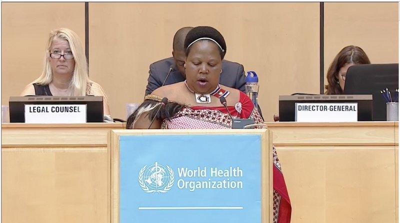 友邦史瓦濟蘭代表24日致詞時,感謝中華民國對史瓦濟蘭的協助。(取自WHO網站)
