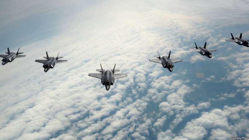 美國空軍2017年5月2日實施F-35戰機集體訓練(美國空軍照片)