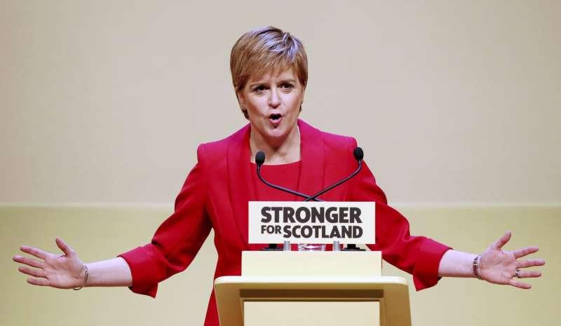 蘇格蘭民族黨也獲得50席位。圖為蘇格蘭首席部長史特金。(美聯社)