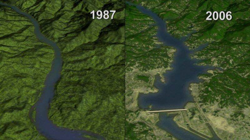 長家三峽大壩前後圖。(維基百科公有領域)