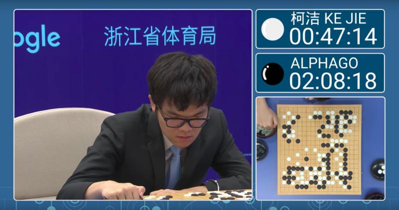世界棋王柯潔對戰Alpha Go第二局的佈局十分漂亮。(截圖自youtube)