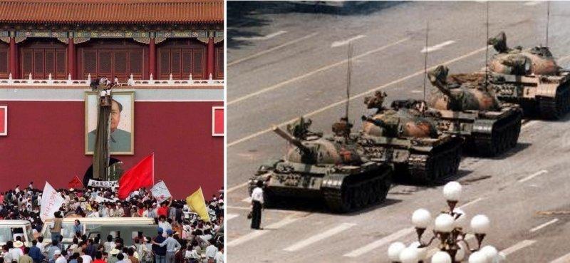 湖南三君子砸毛像(左,取自作者臉書)和王維林隻身擋坦克(維基百科),都是六四史頁不能抹去的畫面。