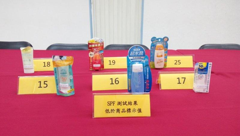 消基會7日在台北公布防曬產品測試結果,抽檢25件商 品中,有6件的SPF防曬係數測試結果低於標示值。(消基會提供)