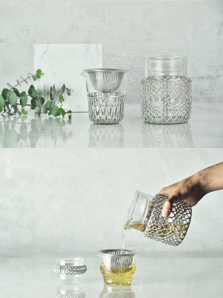 入圍三個獎項的「好客茶器」,將客家婦女採茶的形象以圖騰轉化融入茶具設計。(圖/中華大學提供)