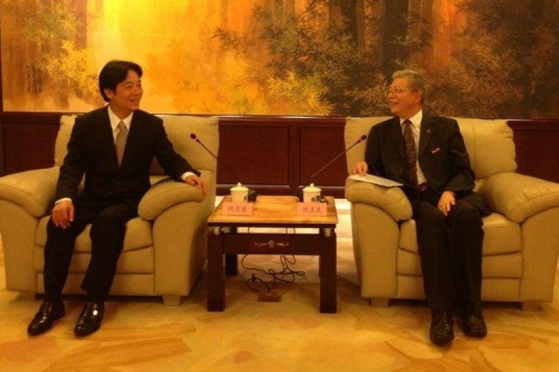 台南市長賴清德2014年拜訪上海復旦大學,由校長楊玉良親自接待。(取自台南市政府網站)