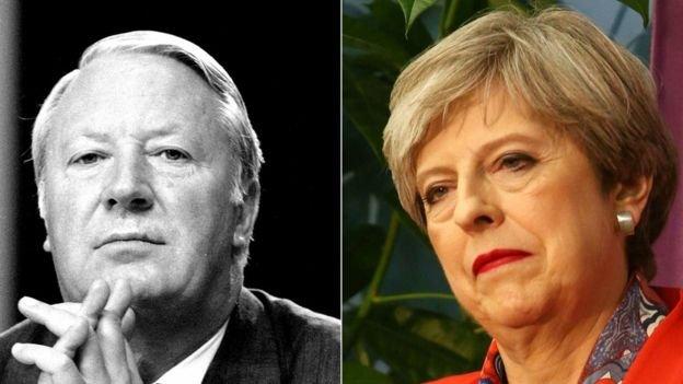 前首相希思(左)1974年組建少數政府失敗,主因之一是北愛統一黨議員不配合。梅伊會做得更好嗎?(BBC中文網)