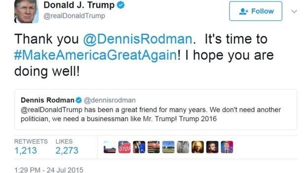 2015年7月,川普在推特上感謝羅德曼支持自己競選總統。(BBC中文網)