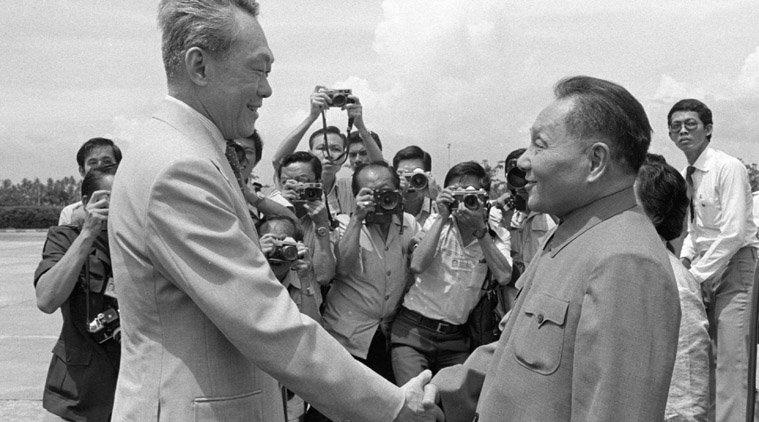 李光耀與鄧小平會面。(美聯社)