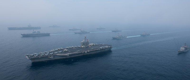 美軍費茲傑羅號驅逐艦(USS Fitzgerald DDG-62)日前參加日本海的美日軍演。(美國海軍官網)