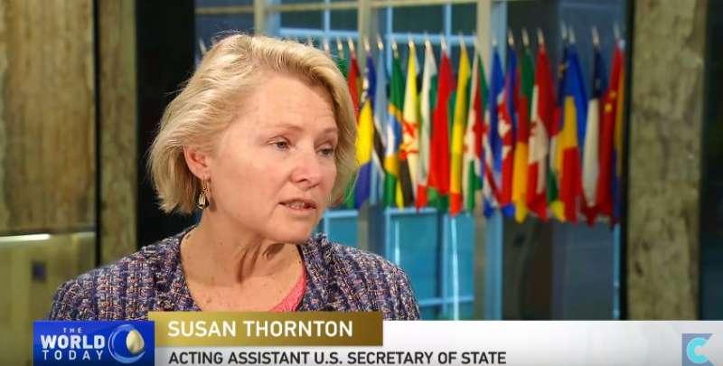美國國務院亞太事務代理助卿董雲裳(Susan Thornton)。(截圖自YouTube)