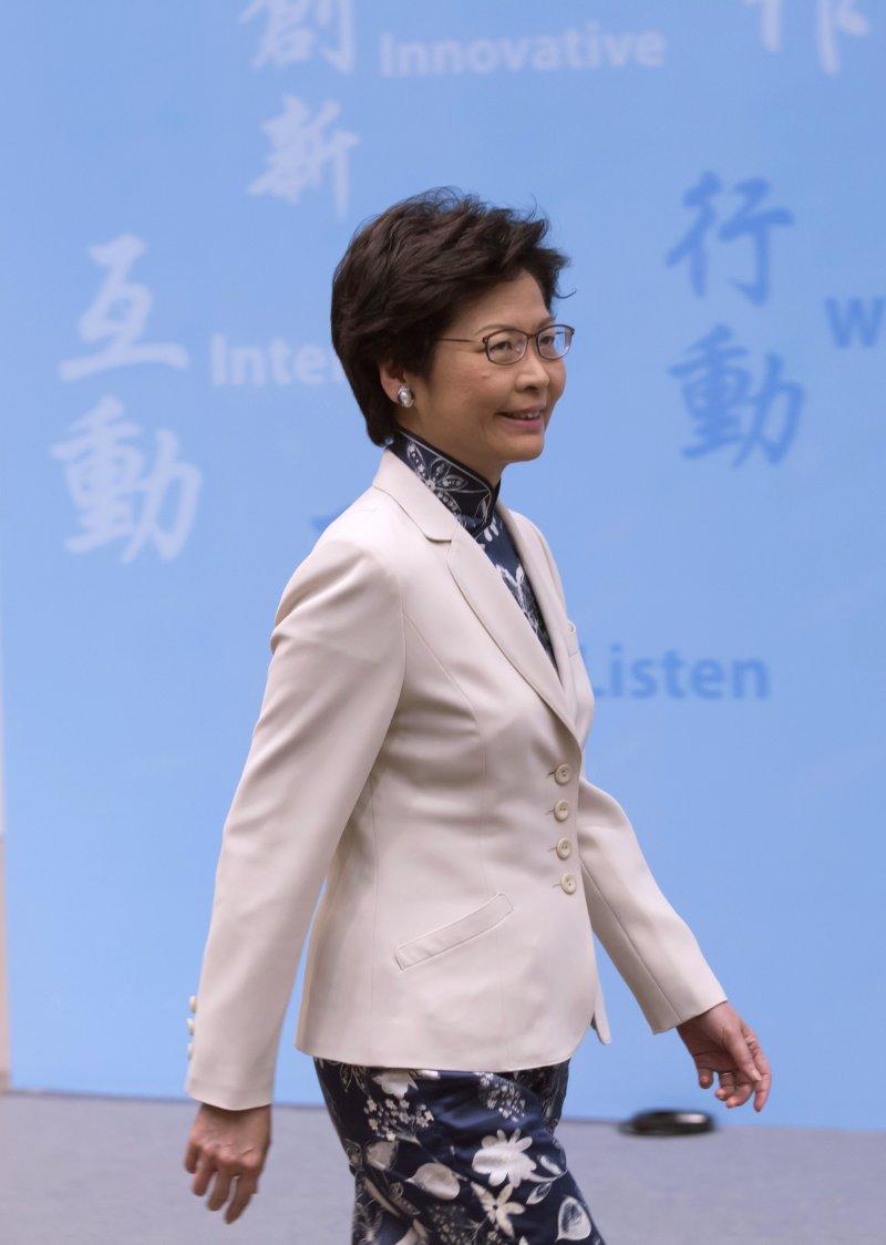香港準特首林鄭月娥接受中國官媒專訪時,對港獨採取強硬立場(AP)