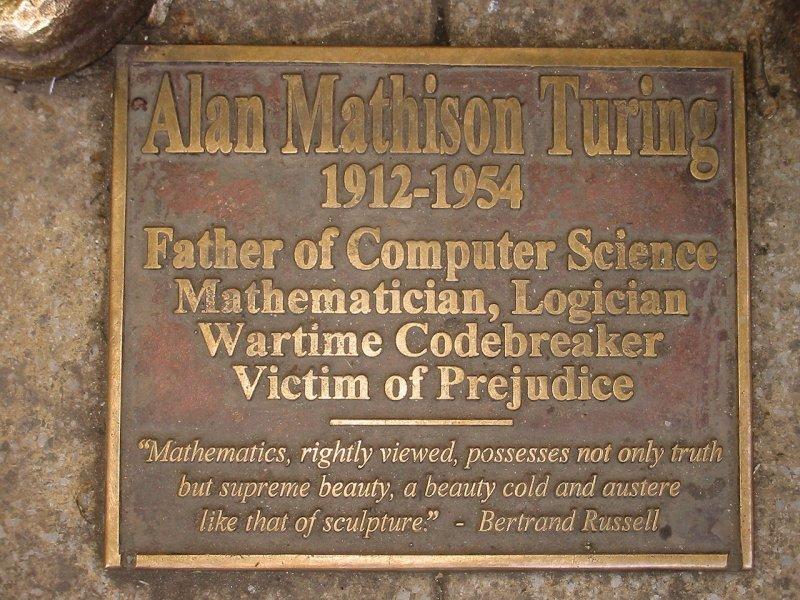 位於曼徹斯特的圖靈紀念碑。( Lmno on en.wikipedia/CC BY-SA 3.0)