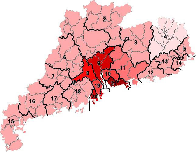 粵港澳大灣區中的港澳、深圳、珠海等城市,GDP比其他地區明顯要高。(Dr.Koo@wikipediaBYCCSA4.0)