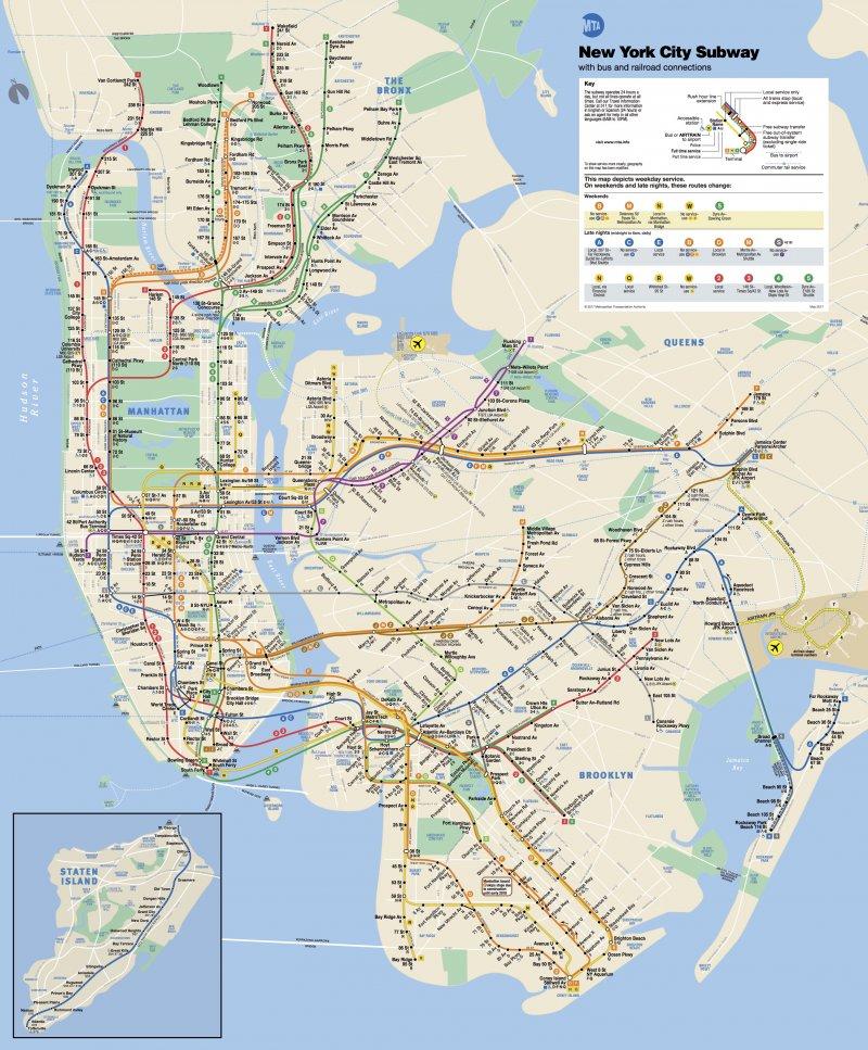 紐約地鐵圖。