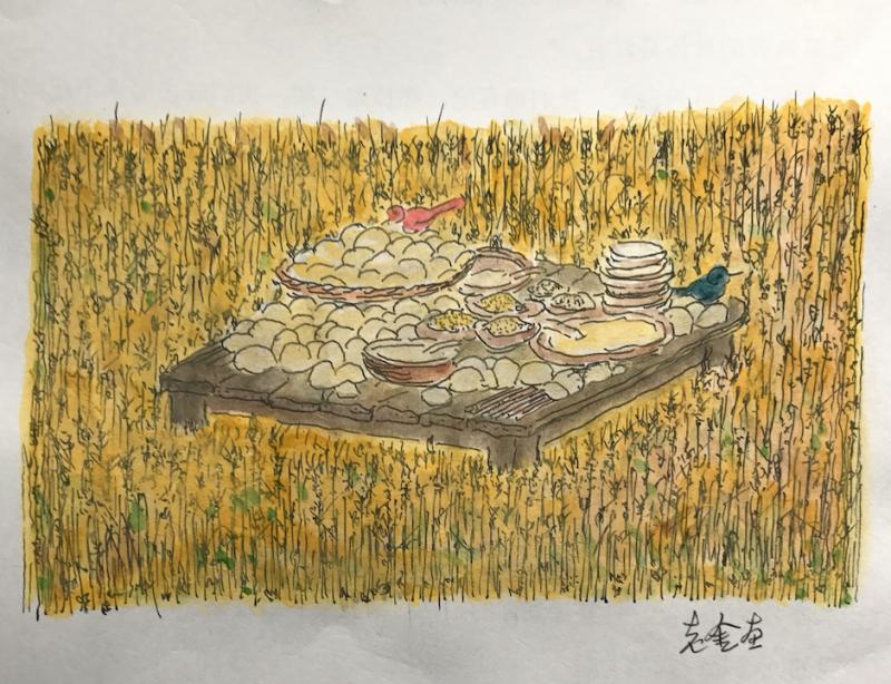 《金宇澄作品選輯:輕寒‧方島‧碗》,《碗》插圖(圖由東美出版提供)