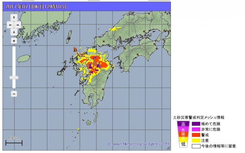 日本九州土石流警戒地區。(翻攝日本氣象廳)