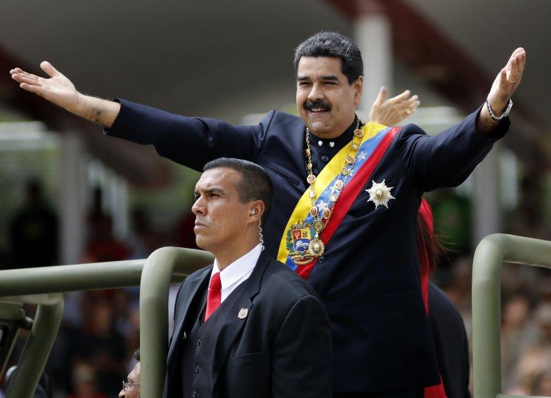 委內瑞拉5日國慶日閱兵,慶祝宣布獨立206周年,總統馬杜洛出席典禮。(美聯社)