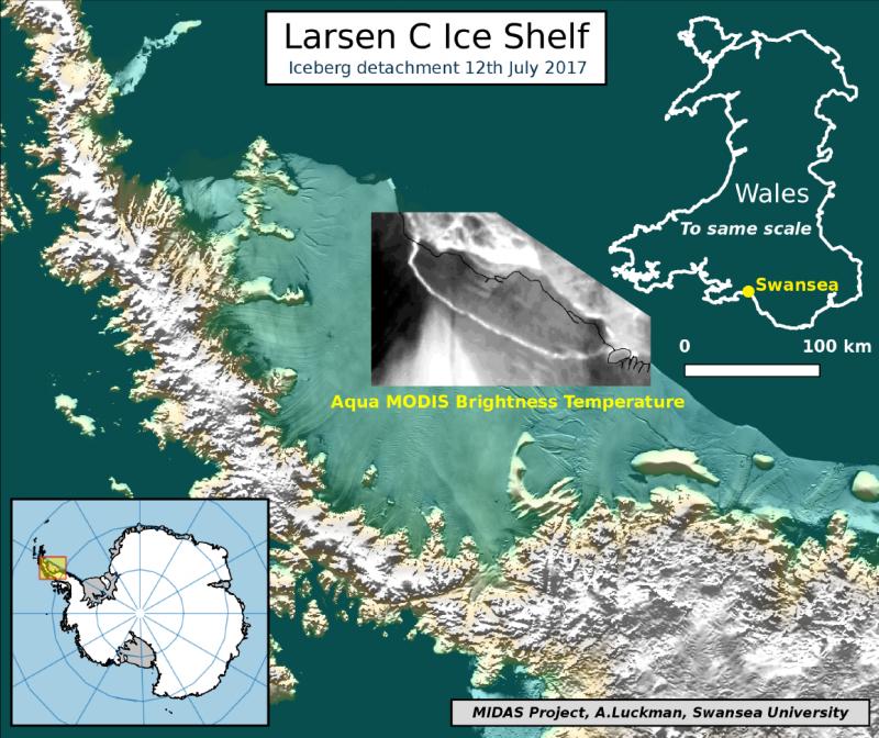 南極洲的「拉森C冰棚」(Larsen C ice shelf)局部裂解,造成史上最大的冰山之一(Project Midas)