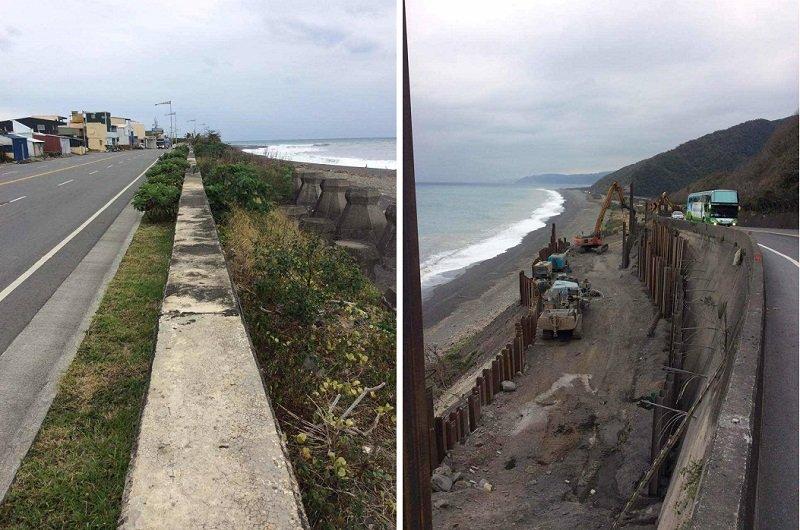 圖片正中是濱海公路的隔牆,高度約0.8米(左);這樣的濱海公路路段將海岸生態一分為二(右)。(寇延丁提供)
