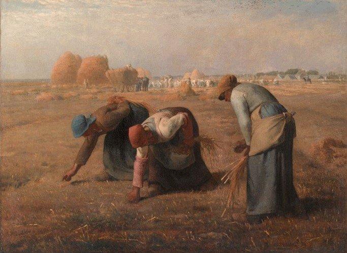 米勒《拾穗》,1857年。(取自維基百科)