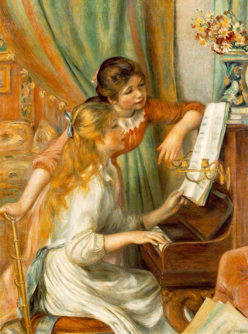 雷諾瓦《彈鋼琴的少女》,1892年。(取自維基百科)