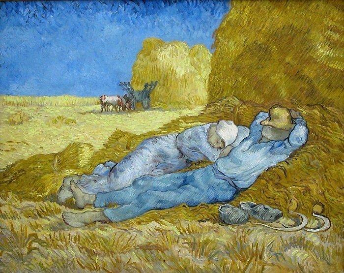 文生.梵谷《午睡》,1889-1890年。(取自維基百科)