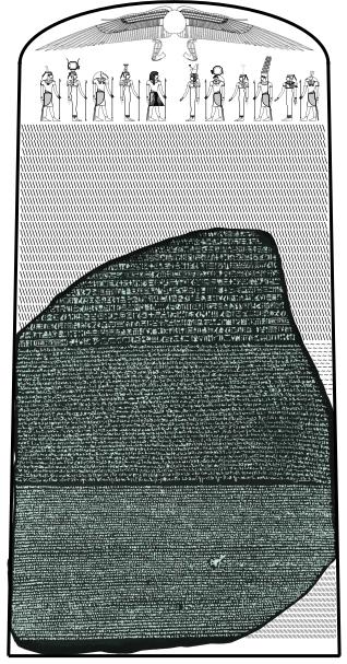 羅塞塔石碑,與原主碑的相對位置圖示。(Captmondo@wikipedia/CC BY-SA 3.0)