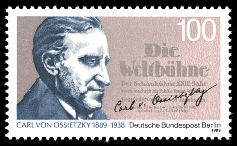 德國和平主義者奧西茨基(Carl von Ossietzky)紀念郵票,1989年發行(Autoreninformationen ansehen@Wikipedia / Gemeinfrei)