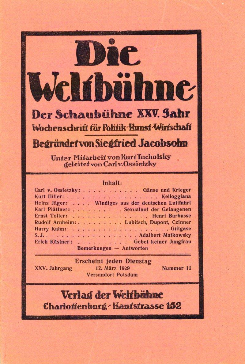 1929年3月12日的《世界舞台》(Die Weltbühne)(@Wikipedia / Public Domain)