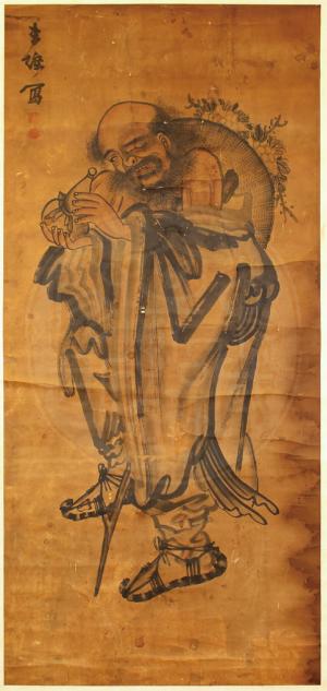 鐵拐李手上拿著葫蘆,當觀者抬頭欣賞畫作時,其實代表著吉祥話:「抬頭見福(葫)」。 (圖/文哲所圖書館,研之有物提供)