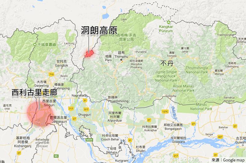 印度與中國在洞朗高原對峙,攸關西利古里走廊的敏感地位(Google Map)