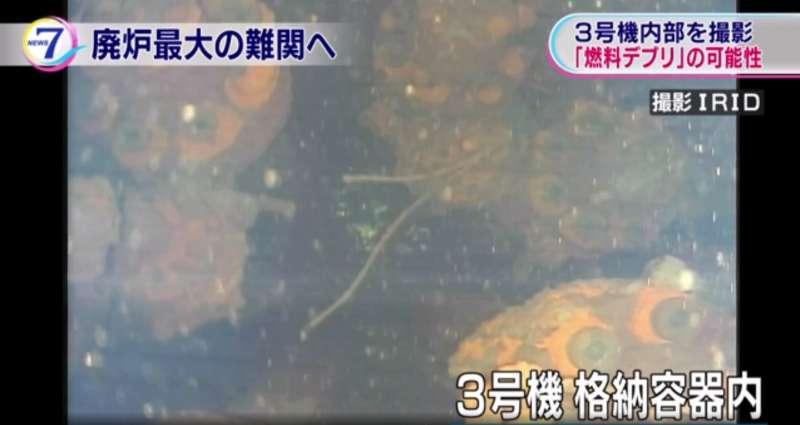 東京電力近日透過水下機器人進入福島第一核電廠3號反應爐,發現疑似熔解核子燃料的團塊。(翻攝影片)