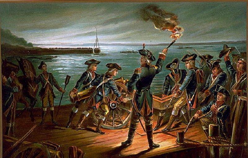 長島戰役圖。1776年8月28日晚,美軍帶同傷兵、物資與武器,由布魯克林撤回曼哈頓。(維基百科)