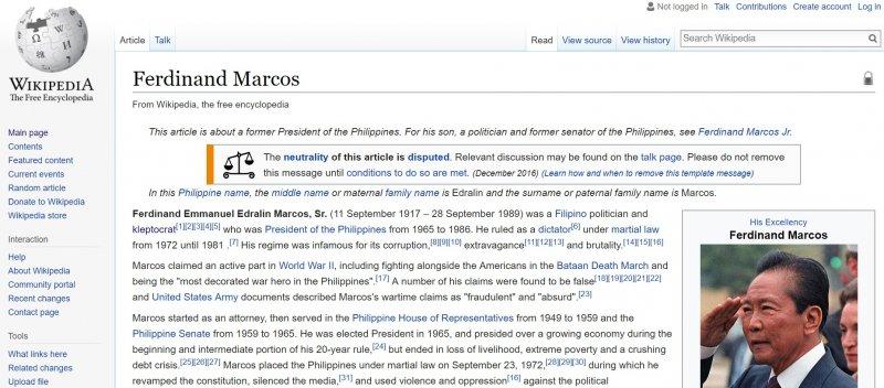 菲律賓前總統馬可仕(Ferdinand Marcos)的維基百科條目是「編輯戰爭」的主要戰場。(圖/維基百科)