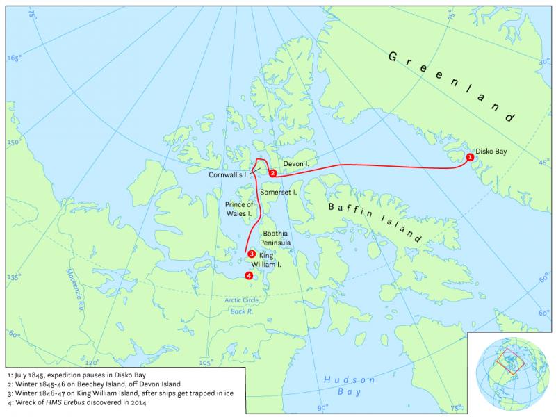 英國探險家佛蘭克林的最後旅程──西北航道(Hans van der Maarel@Wikipedia / CC BY-SA 4.0)