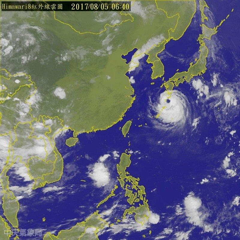諾盧颱風雲圖。(中央氣象局官網)