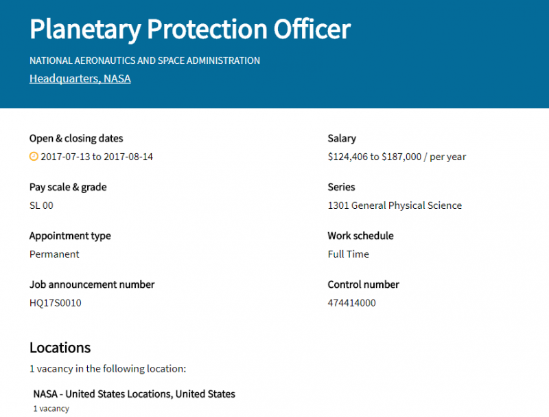 NASA行星保衛官的徵才網頁(截自網路)