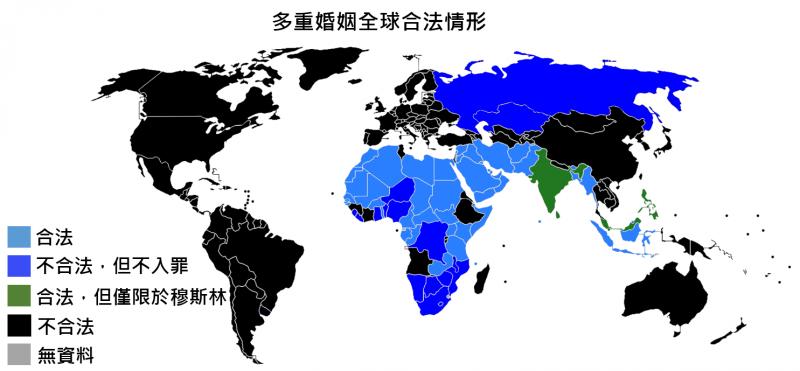 全球多重婚姻制合法情形。(圖/維基百科公有領域)