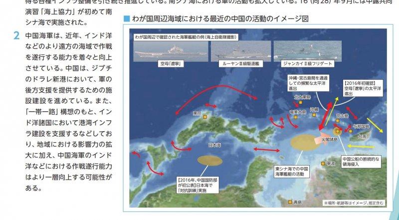 日本8日公布2017年《防衛白皮書》。(截圖自網路)