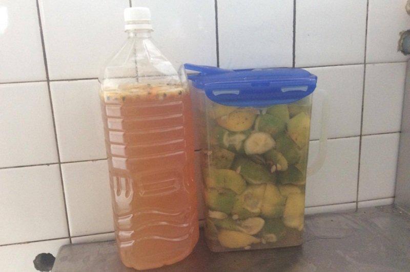 顛沛流離的日子裡,釀造規模處在不斷擴大中,眼下已經變成了五個桶,這是剛剛釀下的檸檬蜜酒和檸檬酵素。(寇延丁提供)